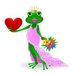 Frog in love vector