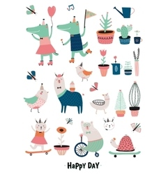 Funny Animals and Flowers vector image