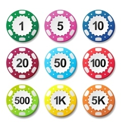 Gambling casino poker chips numbers color sign vector image
