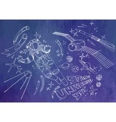 Graphic astronaut and satellites vector