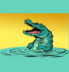 green crocodile character vector image