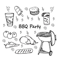 Hand drawn doodle bbq party icons set vector
