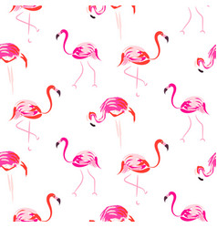 hand drawn pink flamingo bird seamless pattern vector image
