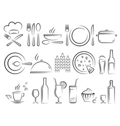 Hand drawn restaurant icons set on white vector