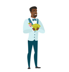 happy african-american groom holding money vector image