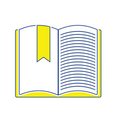 icon of open book with bookmark vector image