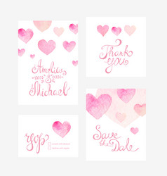 Invitation card with watercolor hearts for your vector