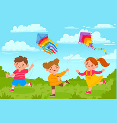 Kids with kites boy and girl outside playing with vector