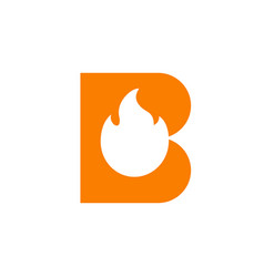 Letter b and fire flame logo icon design vector