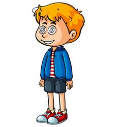 Little boy with dizzy eyes vector