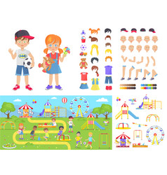 little children and summer playground constructors vector image