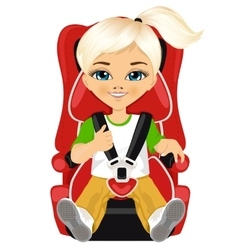 Little girl strapped to a car seat vector