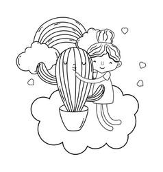 little girl with cactus kawaii character vector image