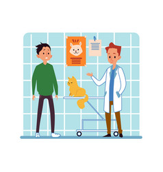 Man and his pet cat visiting veterinary clinic vector