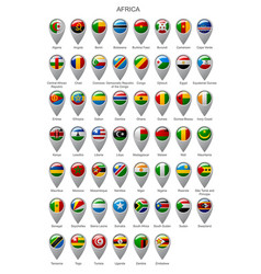 Map marker set with flags of africa vector