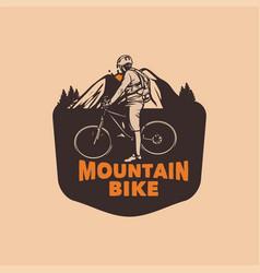 Mountain bike racing badge design for tournament vector