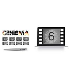 movie countdown numbers on laptop vector image