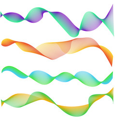 multiple wave abstract wavy stripes colorful smoke vector image