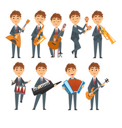 musicians boys playing different musical vector image