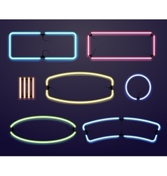 Neon light borders illuminated frames vector image