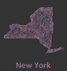 New York state line art map vector