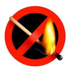 No matchstick fire sign vector