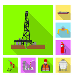 Oil and gas symbol set of vector