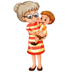 Old lady carrying little boy on white background vector