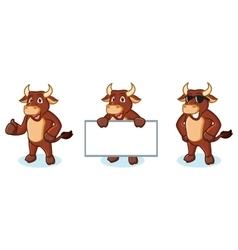 Ox Brown Mascot happy vector image