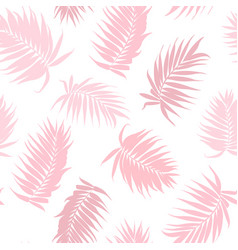 Pink camouflage palm tree leaves seamless pattern vector