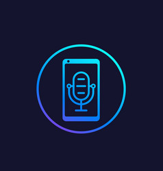 Podcast audio icon mike and smartphone vector