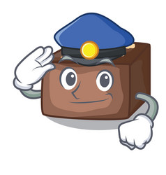 Police character cartoon almond cake with caramel vector