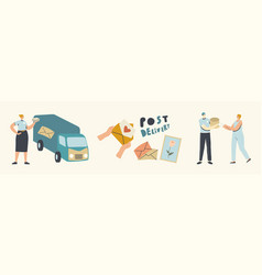 post delivery service couriers or postman vector image