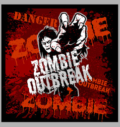 Poster zombie outbreak sign board with zombie vector