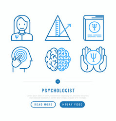 psychologist thin line icons set vector image