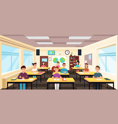Pupils study in classroom interior pupils in vector