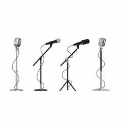 realistic microphones 3d professional metal mics vector image