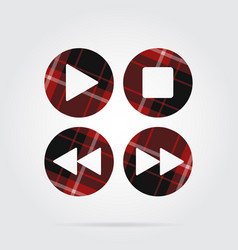 Red black tartan icon four music control buttons vector