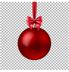 red xmas ball isolated vector image