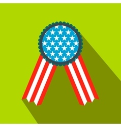 Ribbon rosette in the USA flag colors flat icon vector image