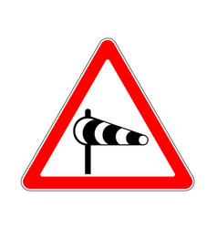 road sign warning crosswind on white background vector image