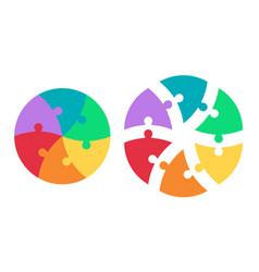 round puzzle triangular colored sectors template vector image