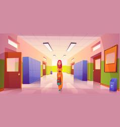 Sad lonely muslim girl in school hallway vector
