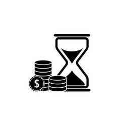Sand times clock money icons vector