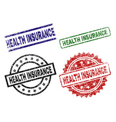 scratched textured health insurance stamp seals vector image