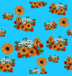 seamless pattern with sunflowers and poppies vector image