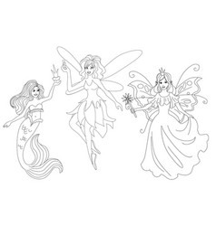 set of magic characters isolated coloring page vector image