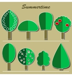 set of summer trees vector image