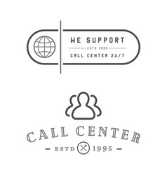Set of support contact center service elements vector