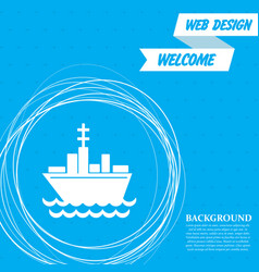 ship boat icon on a blue background with abstract vector image